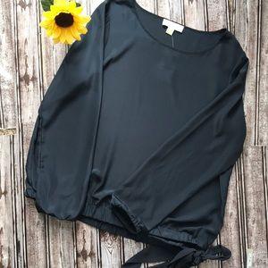 NWT  Michael Michael Kors navy long sleeve blouse